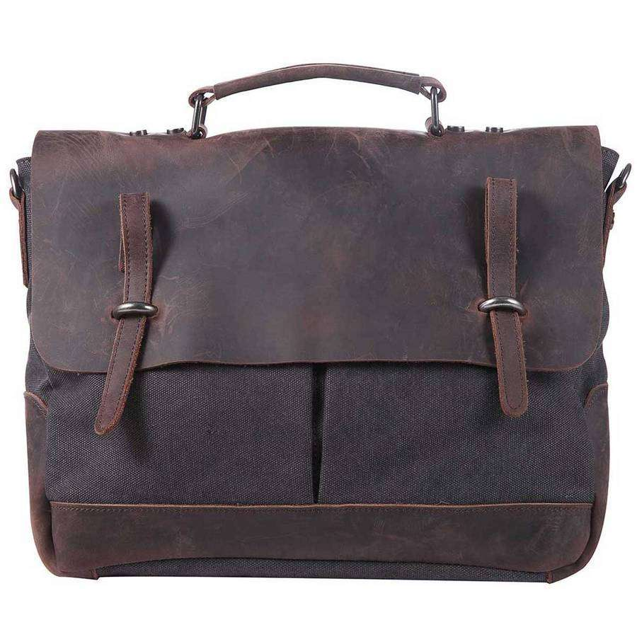 Distressed Leather And Canvas Messenger,Bags,Mad Man, by Mad Style