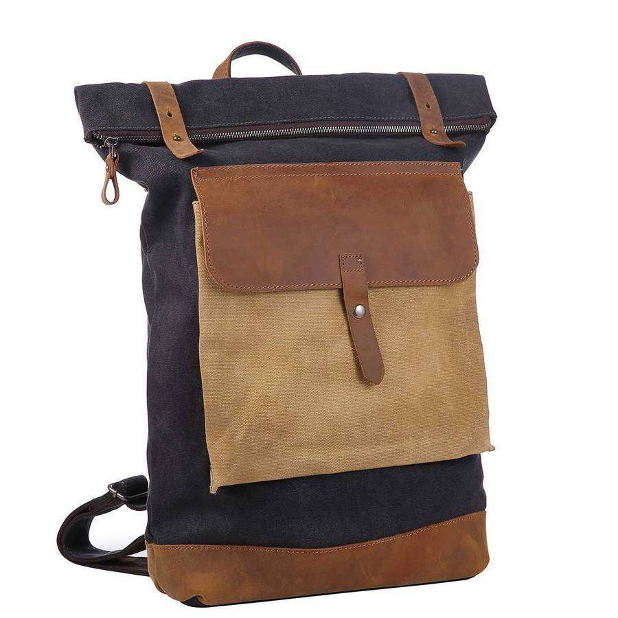 Distressed Leather And Canvas Ruck