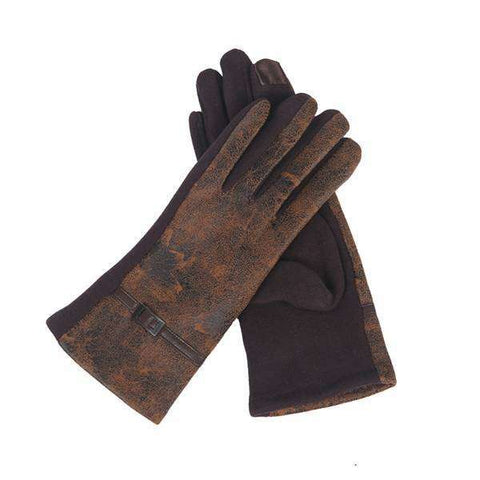Distressed Leather Texting Gloves