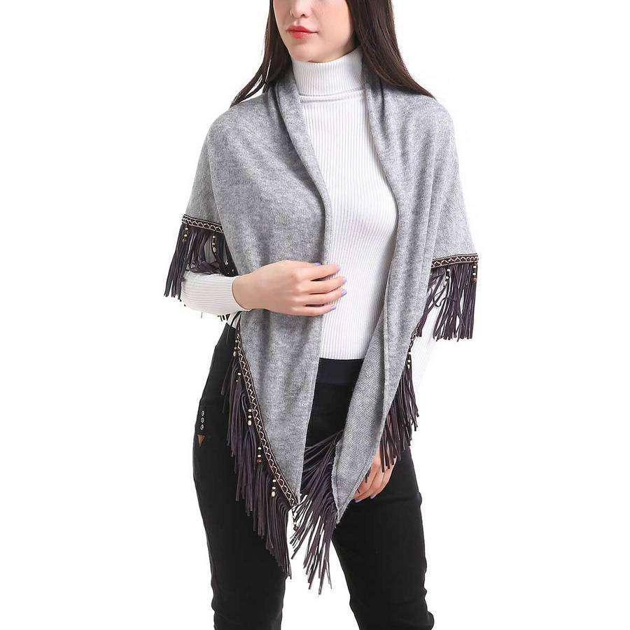 Distressed Tasseled Square Scarf,Heavy Scarves,Mad Style, by Mad Style