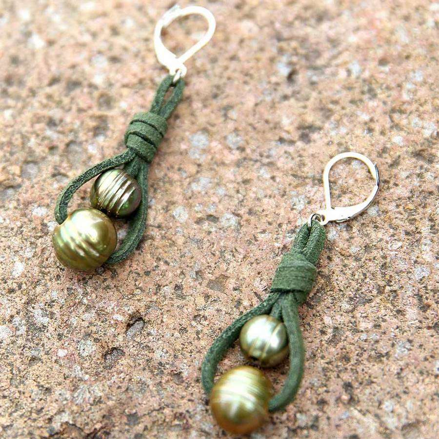 Double Pearl Suede Earring,Earrings,Elly, by Mad Style