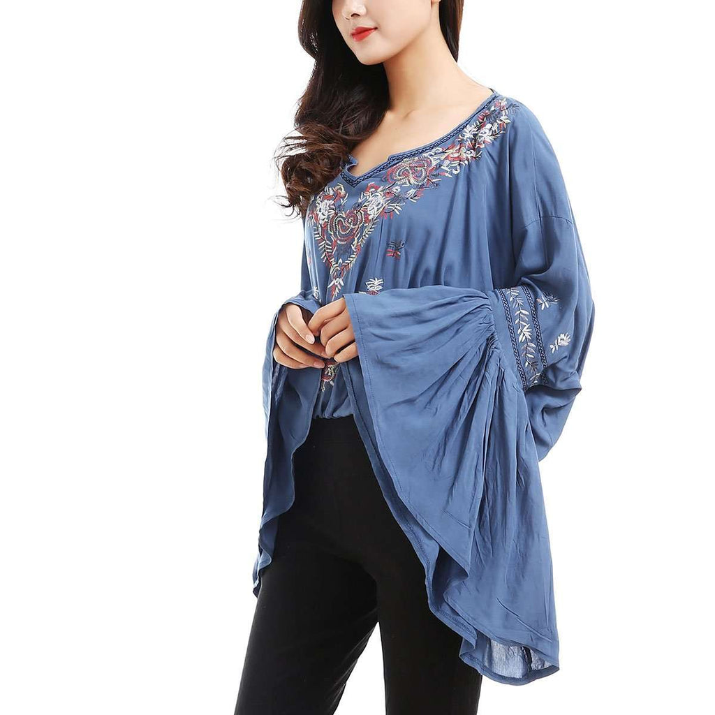 Embroidered Bell Sleeve Pullover,Tops,Mad Style, by Mad Style