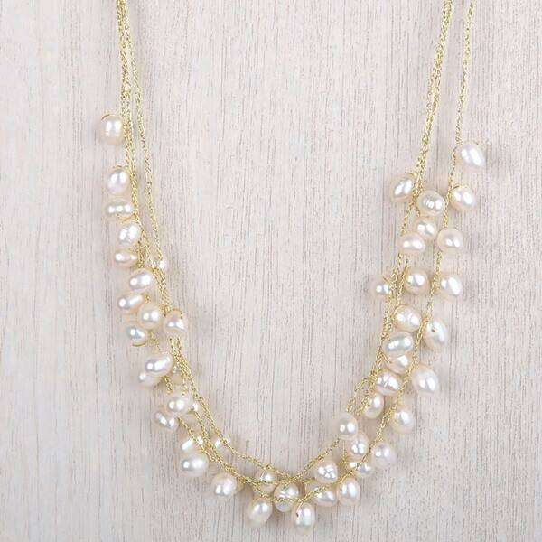 Emma Triple Strand Necklace White Pearl Gold