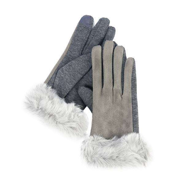 Faux Suede And Fur Texting Gloves,Winter Accessories,Mad Style, by Mad Style