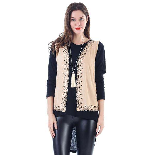 Faux Suede Cutout Vest,Outerwear,Mad Style, by Mad Style