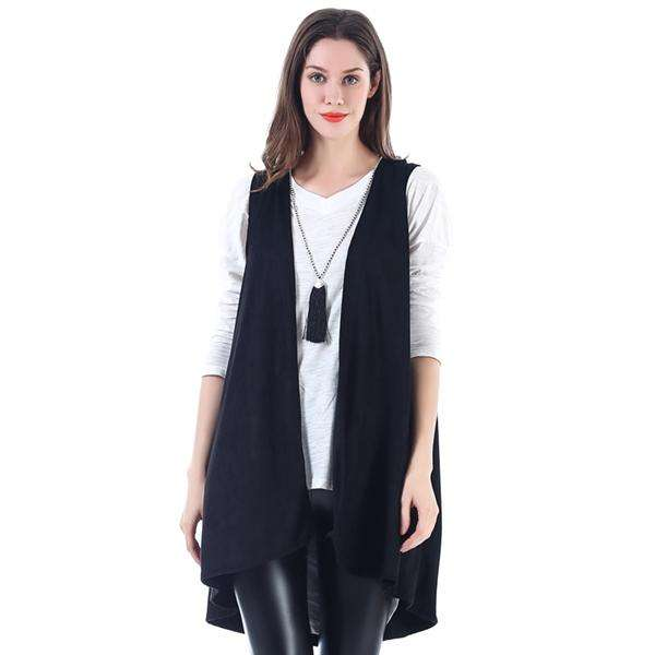 Faux Suede Pleated Back Long Vest,Outerwear,Mad Style, by Mad Style