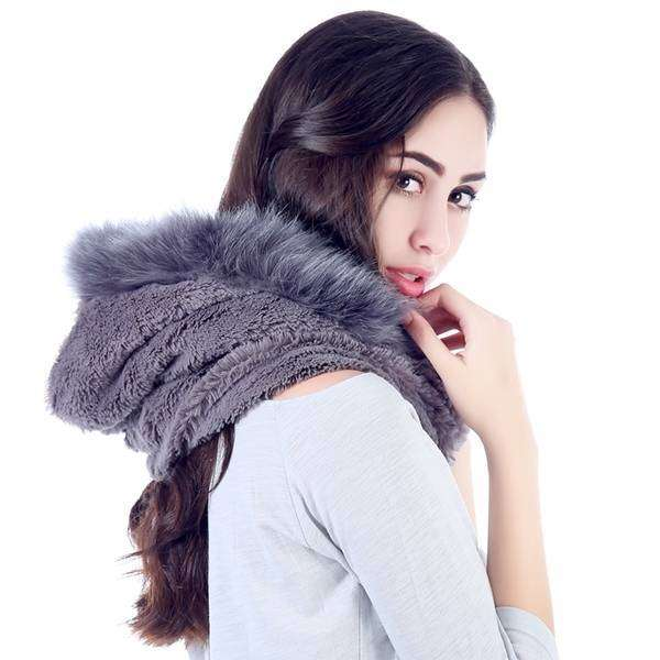 Fleece And Fur Hooded Infinity Scarf,Heavy Scarves,Mad Style, by Mad Style