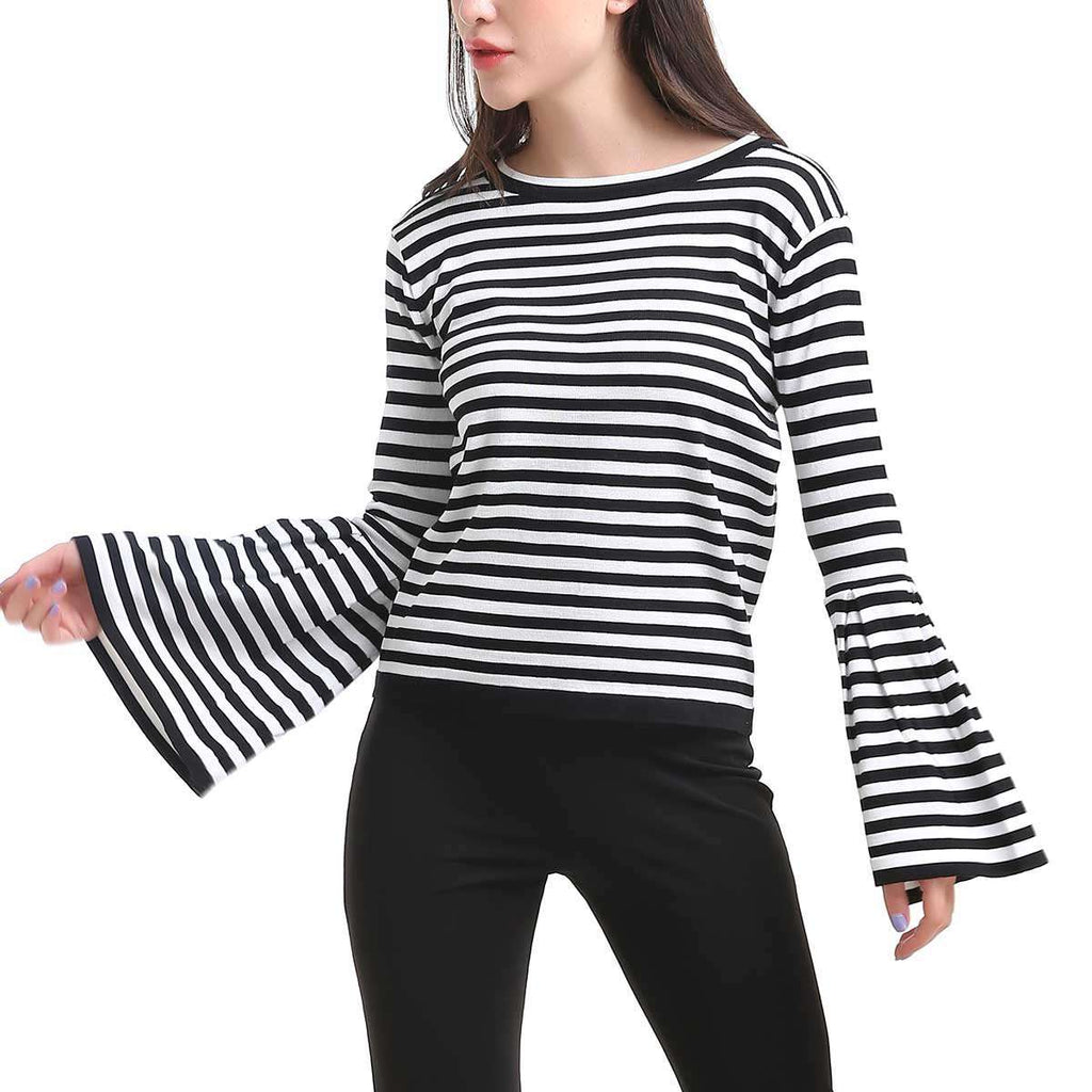 Fluted Sleeve Crewneck Top