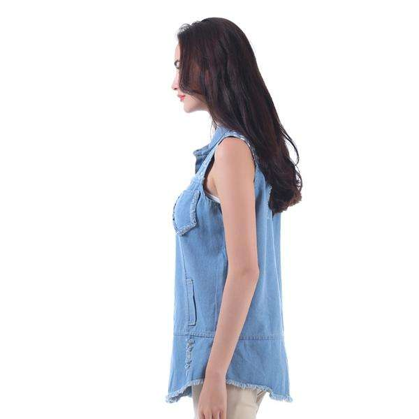 Frayed Denim Vest,Tops,Mad Style, by Mad Style
