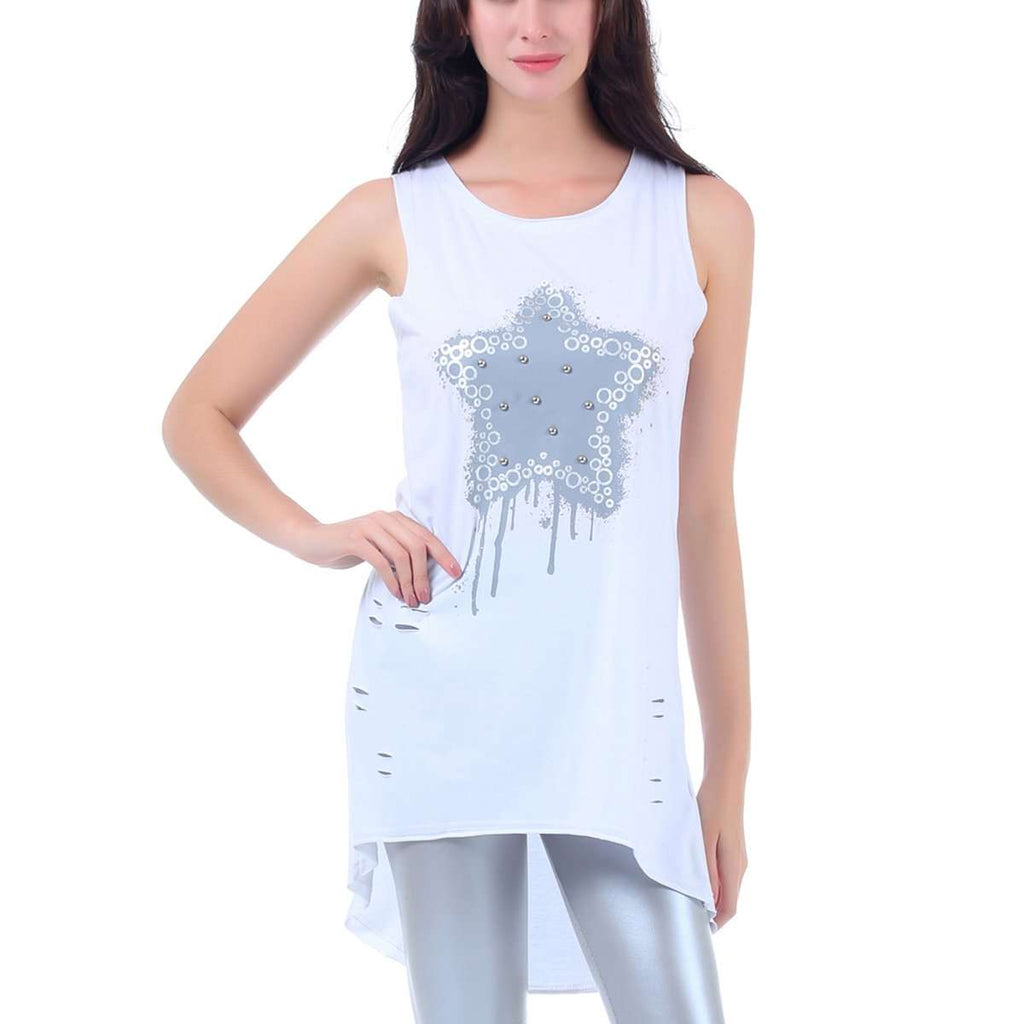 Frayed Metallic Star Tank Top,Tops,Mad Style, by Mad Style