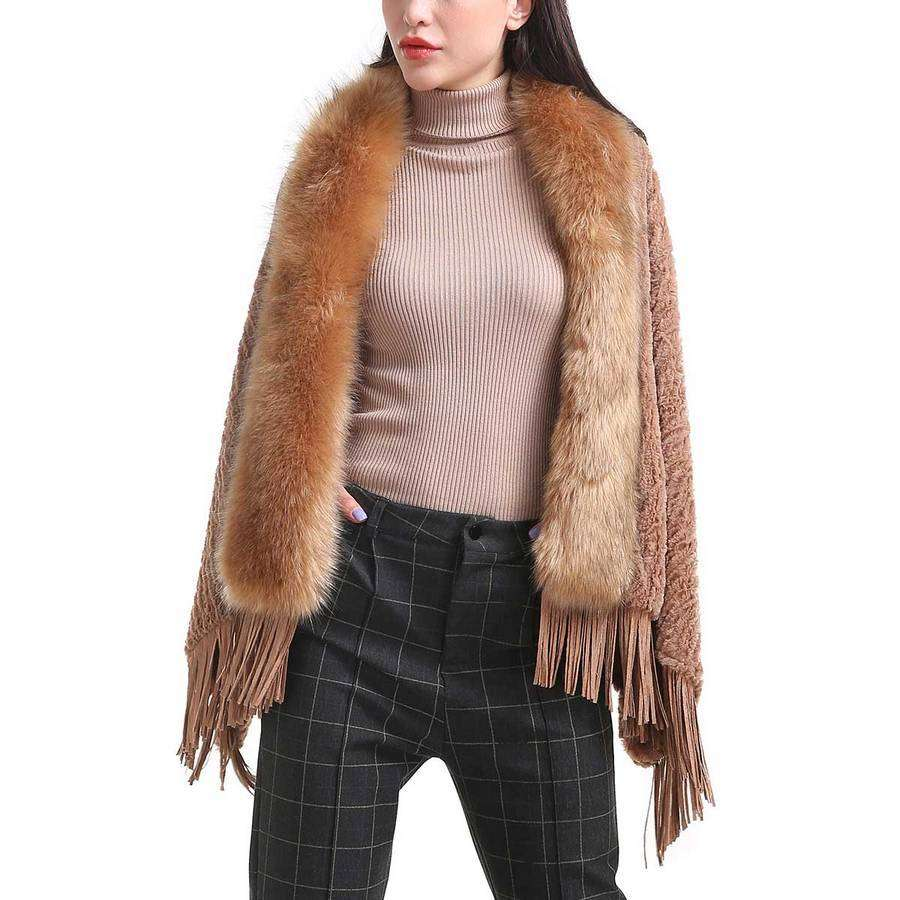 Fur Collar Fringe Shawl,Outerwear,Mad Style, by Mad Style