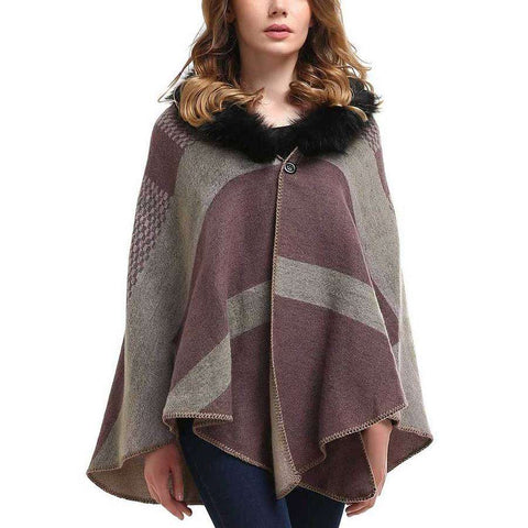 Fur Collar Plaid Shawl