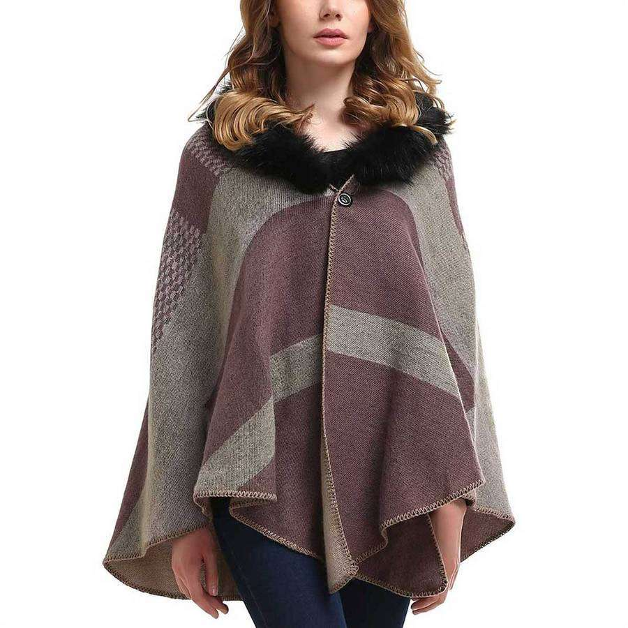 Fur Collar Plaid Shawl,Outerwear,Mad Style, by Mad Style