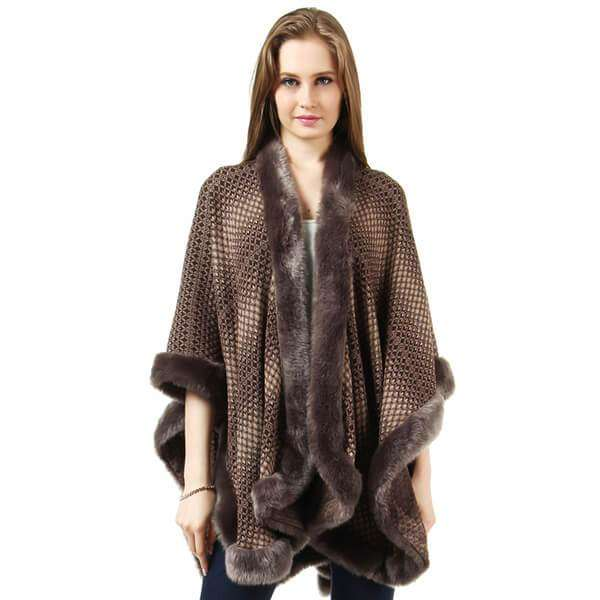 Fur Trimmed Cape,Outerwear,Mad Style, by Mad Style