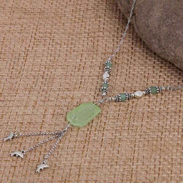 Green Sea Glass With Dolphin Charm Necklace,Necklaces,Elly, by Mad Style