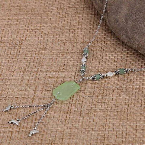 Green Sea Glass With Dolphin Charm Necklace