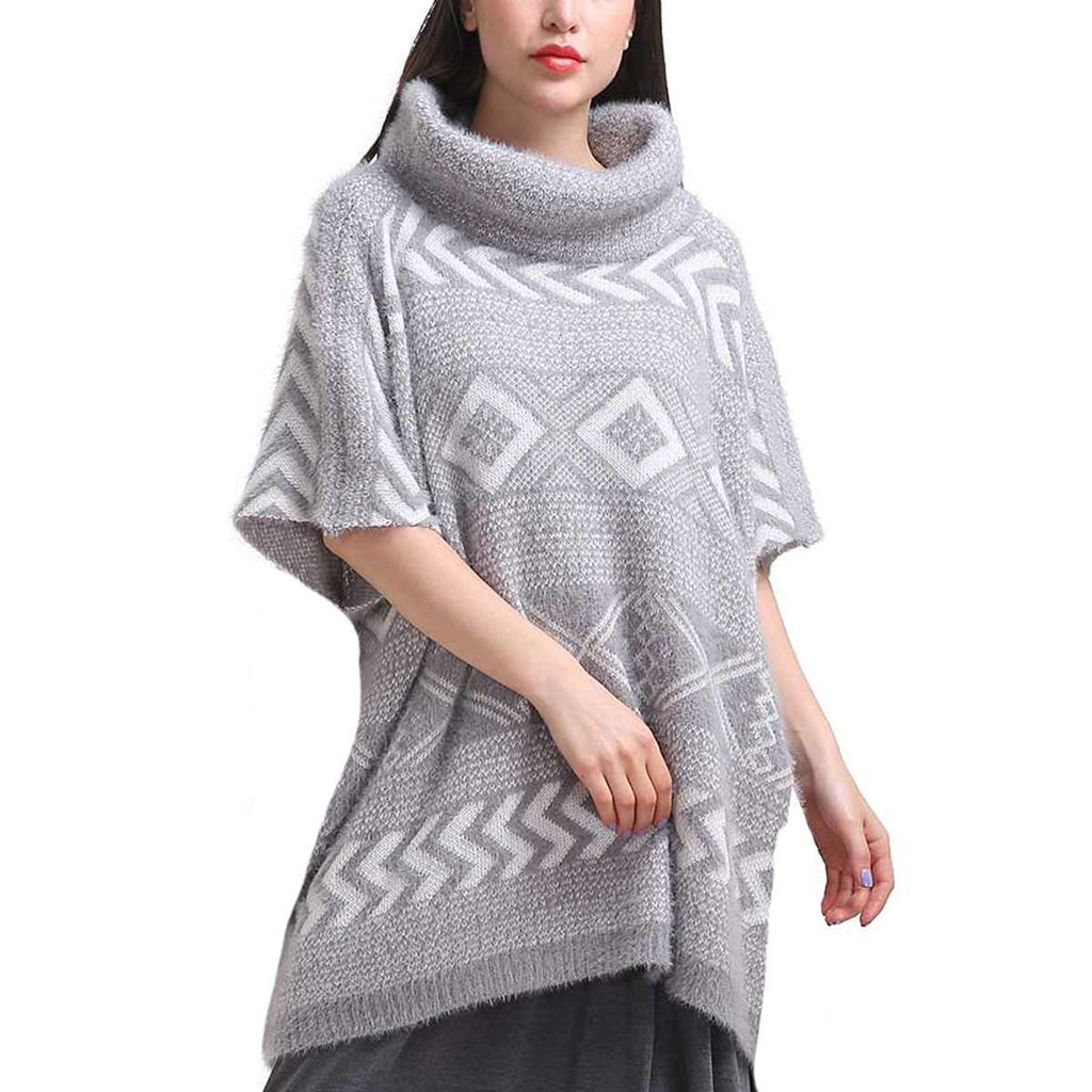 Grey Cowl Neck Poncho,Outerwear,Mad Style, by Mad Style