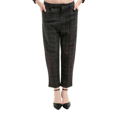Grey Flannel Plaid Stretch Slant Pocket Pant