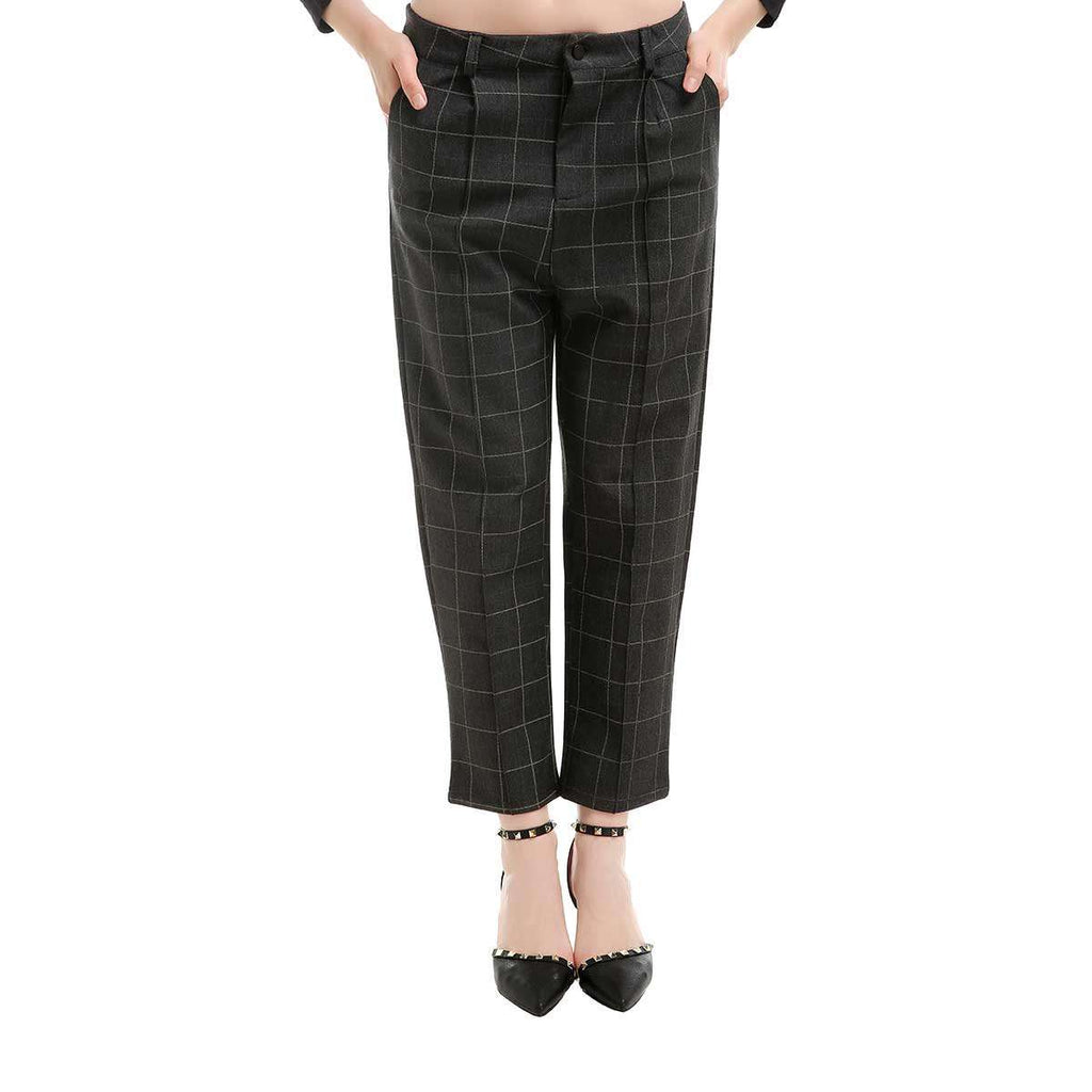 Grey Flannel Plaid Stretch Slant Pocket Pant,Bottoms,Mad Style, by Mad Style
