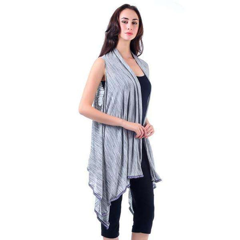 Heather Grey Knit Vest With Tribal Trim