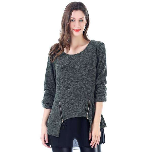 Heathered 2 Draped Pullover Poncho,Tops,Mad Style, by Mad Style