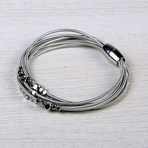 Layered Harp String Bracelet with Flat Beads