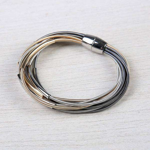 Layered Harp String Bracelet with Bars