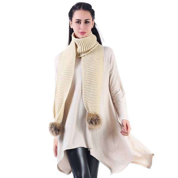 Kennedy Rich Weave Pom Scarf,Heavy Scarves,Mad Style, by Mad Style