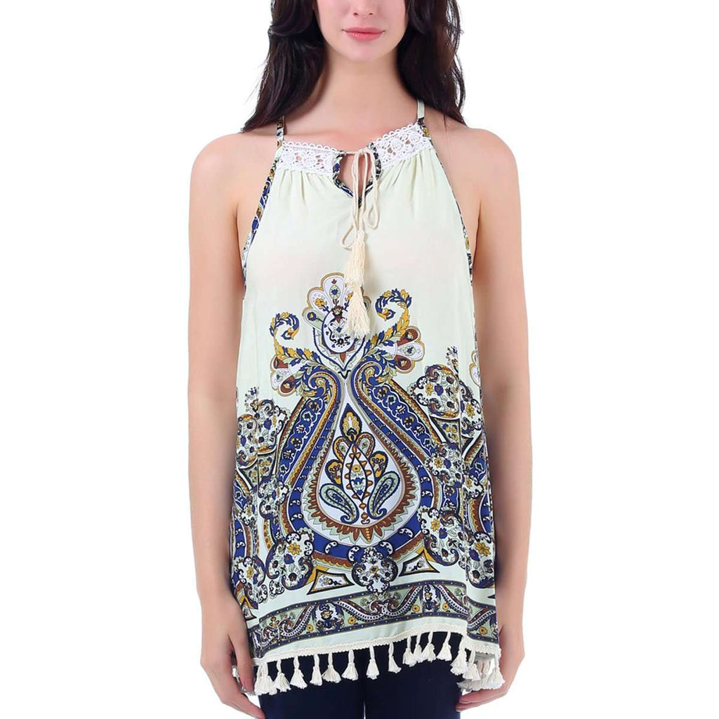 Keyhole Paisley Tank Top,Tops,Mad Style, by Mad Style