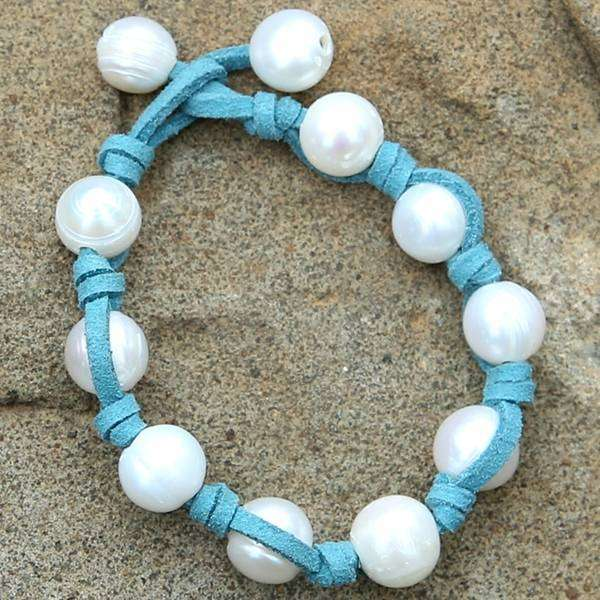 Knotted Pearl Leather Bracelet