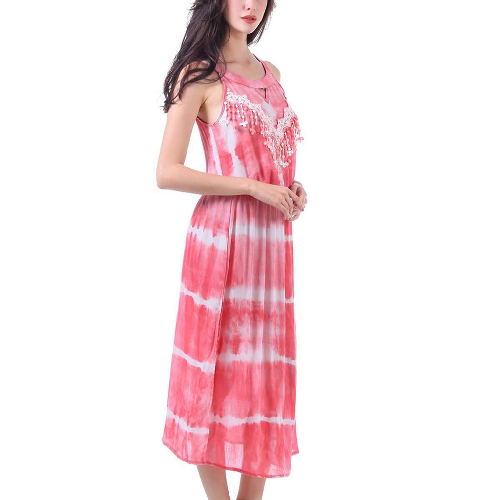 Lace Keyhole Tie Dye Dress