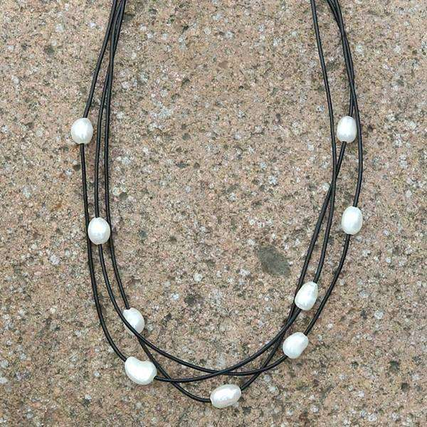 Layered Leather Pearl Choker Necklace