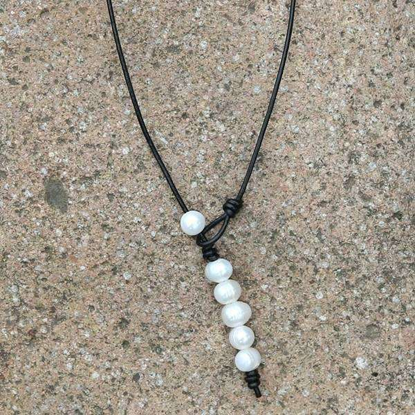 Leather & Pearl Horizontal Bar Necklace