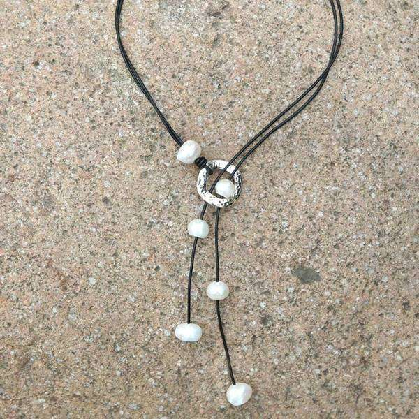 Leather & Pearl Lariat Necklace