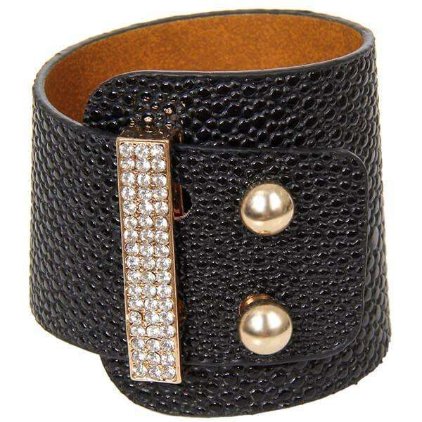Leather Pebble Cuff Bracelet