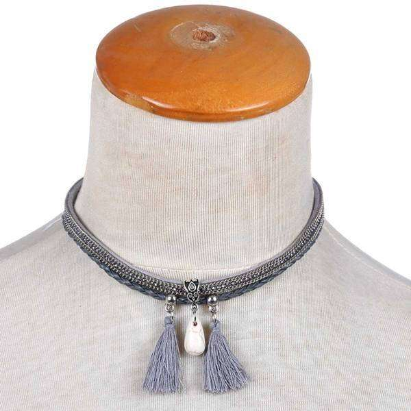 Leather Tasseled Wrap Bracelet And Choker Necklace