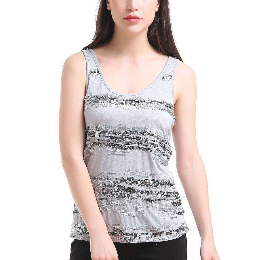 Light Tank With Silver Sequin Gradient Stripes,Tops,Mad Style, by Mad Style