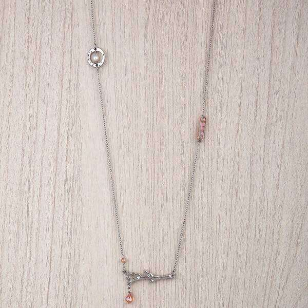 Long Chain With Stones Crystal Necklace