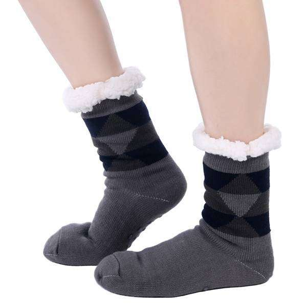 Mad Man Fleece Argyle Cozy Socks,Winter Gear,Mad Man, by Mad Style