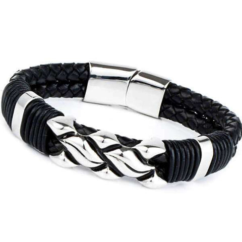 Mad Man Stainless Steel Leather Bracelet