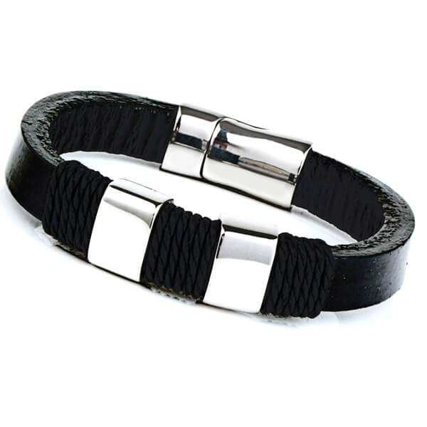 Mad Man Stainless Steel Leather Bracelet,Jewelry,Mad Man, by Mad Style