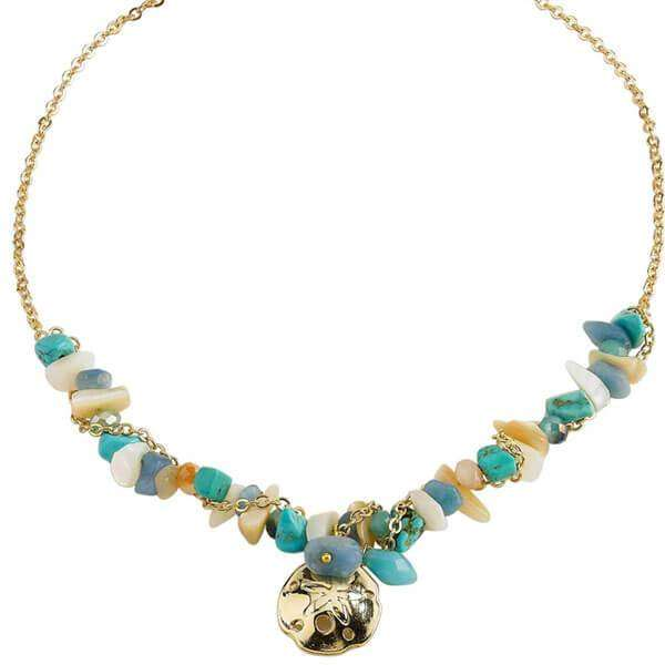 Marissa Sand Dollar Necklace Blue