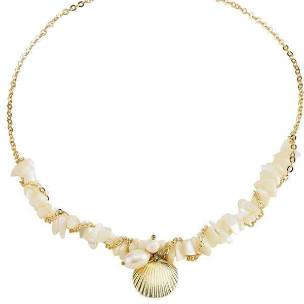 Marissa Shell Necklace White,Necklaces,Elly, by Mad Style