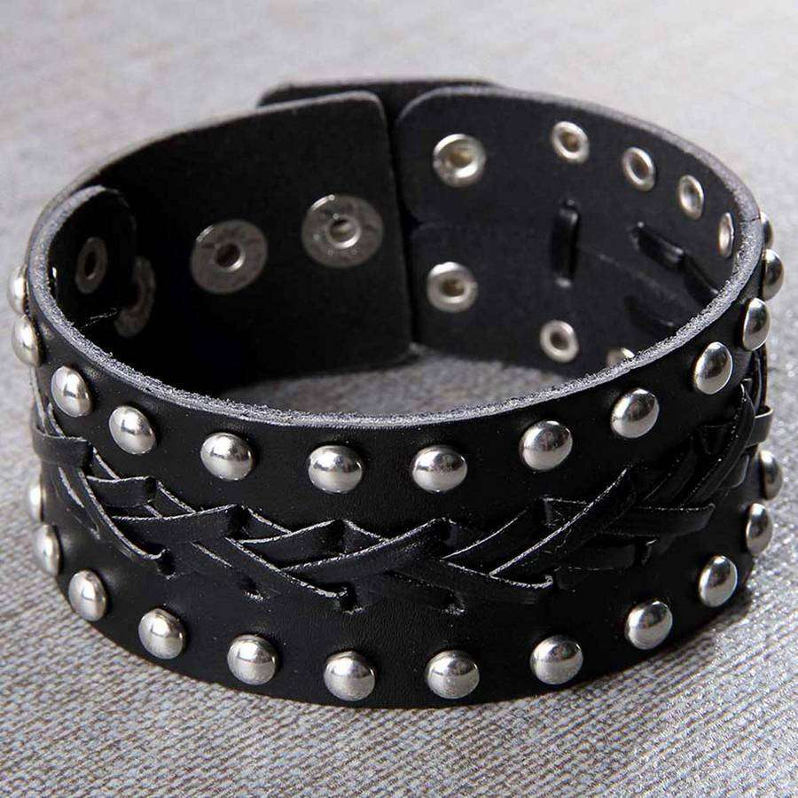 Mens Distressed Leather Wide Bracelet