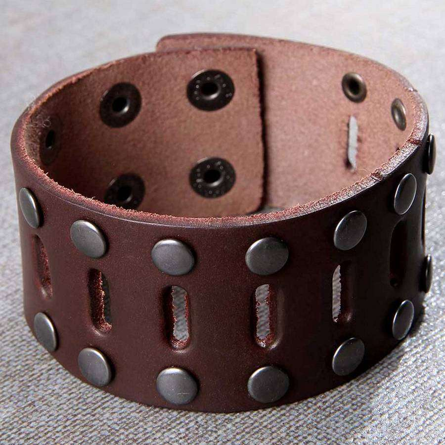 Men's Distressed Leather Wide Bracelet,Jewelry,Mad Man, by Mad Style
