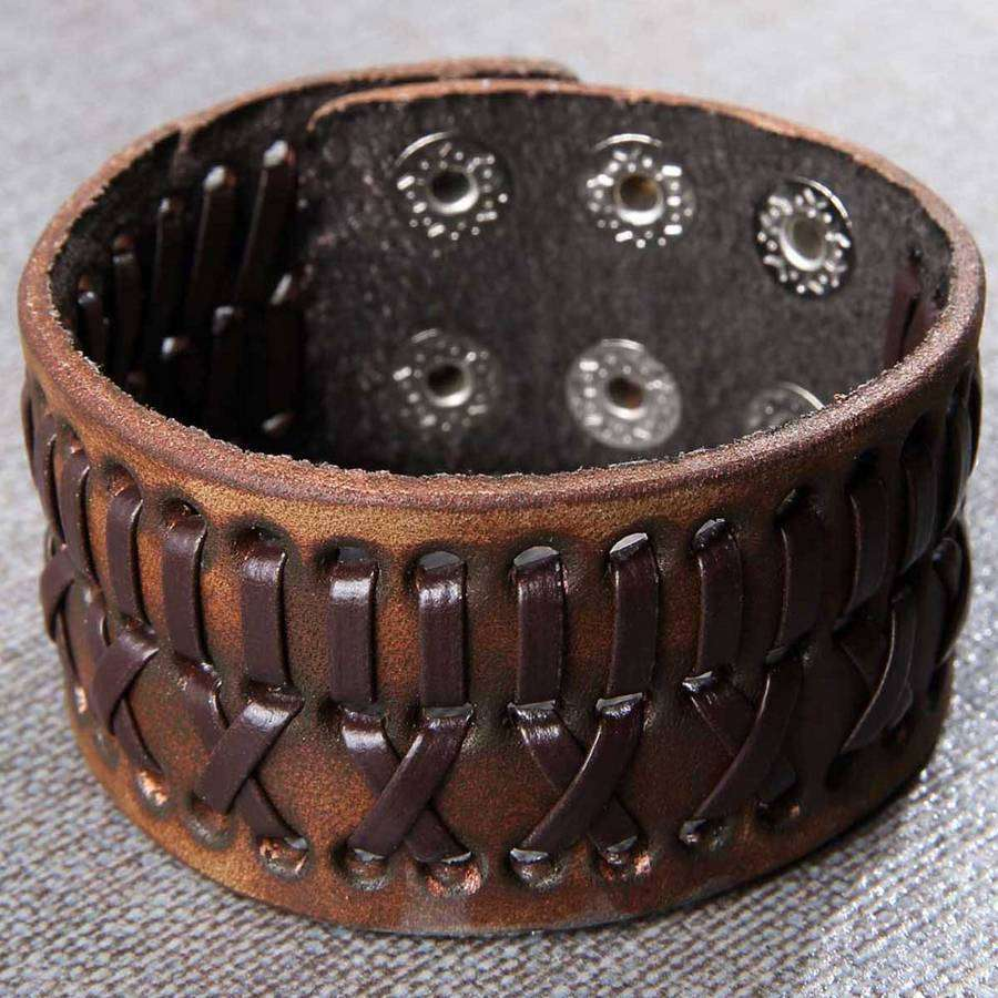 Mens Distressed Leather Wide Bracelet,Jewelry,Mad Man, by Mad Style