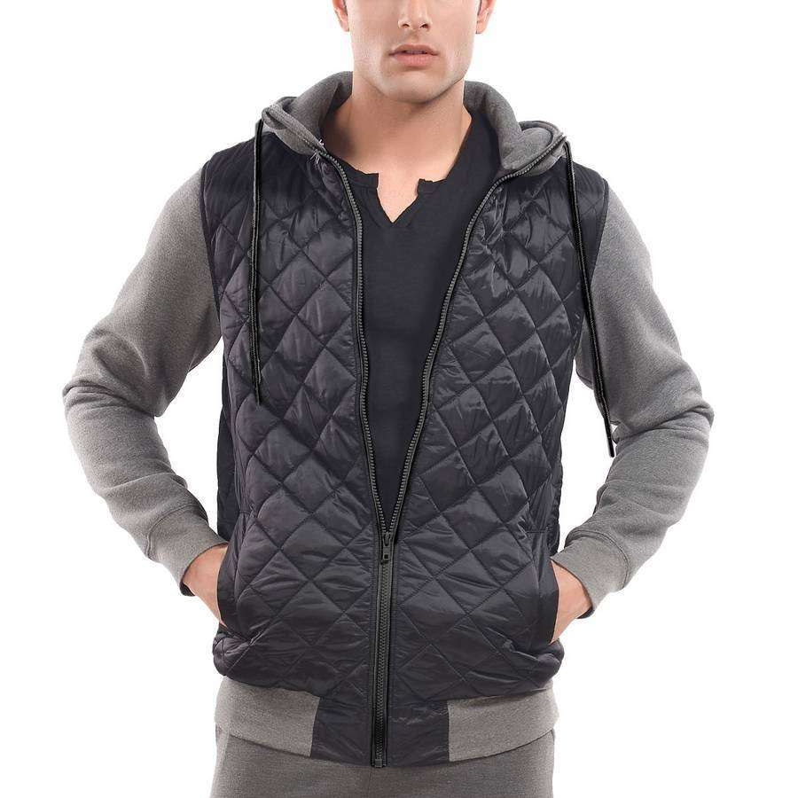 Mens Quilted Hoodie,Apparel,Mad Man, by Mad Style