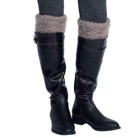 Metallic Weave Fur Boot Topper