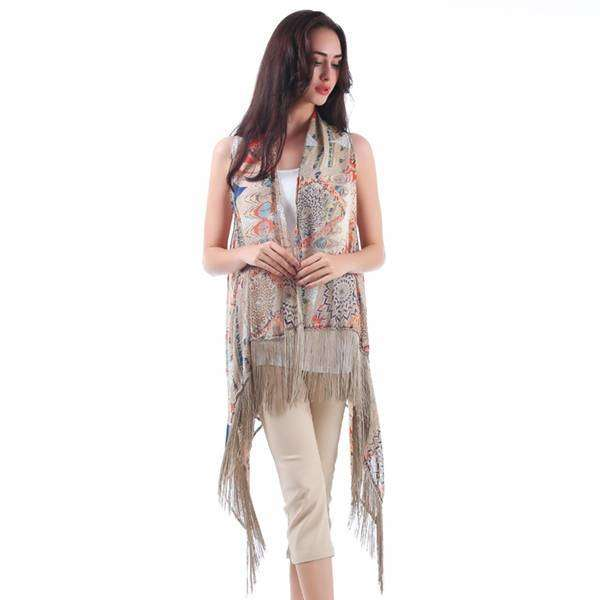 Multi Color Fringe Vest,Outerwear,Mad Style, by Mad Style