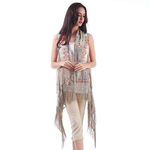 Multi Color Fringe Vest